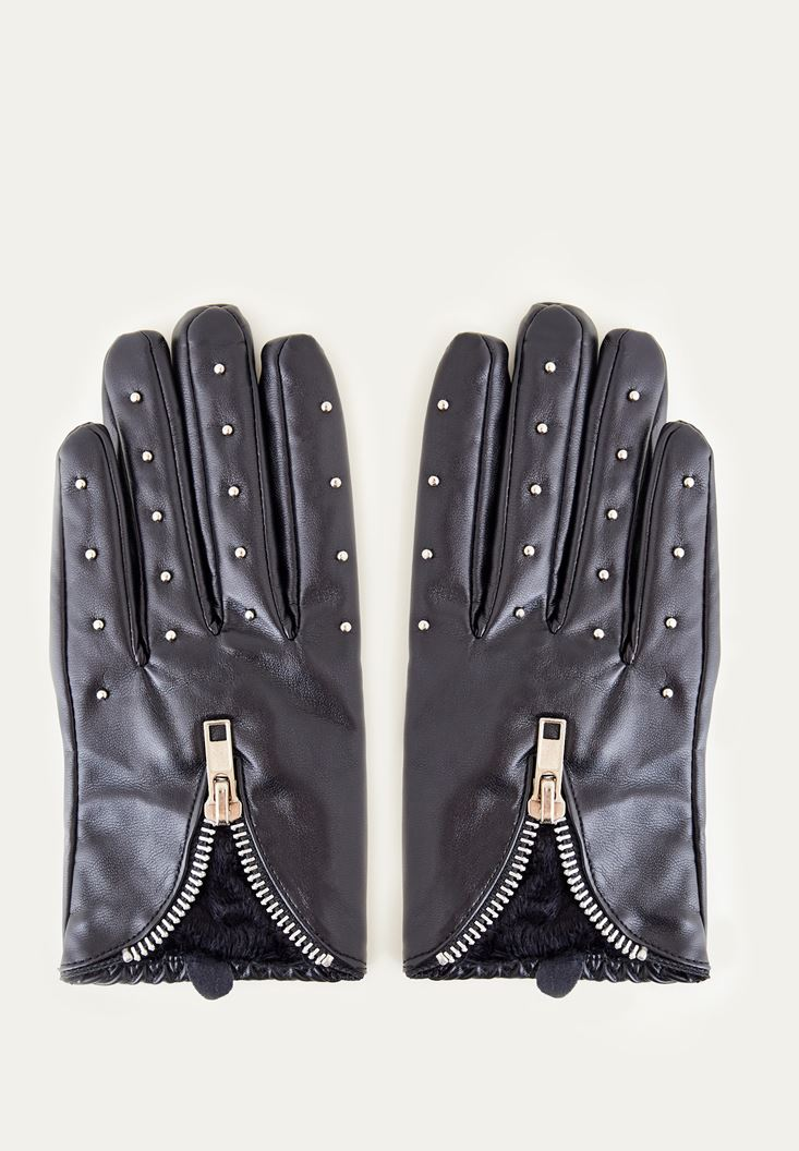 Black Zipper Detailed Glove