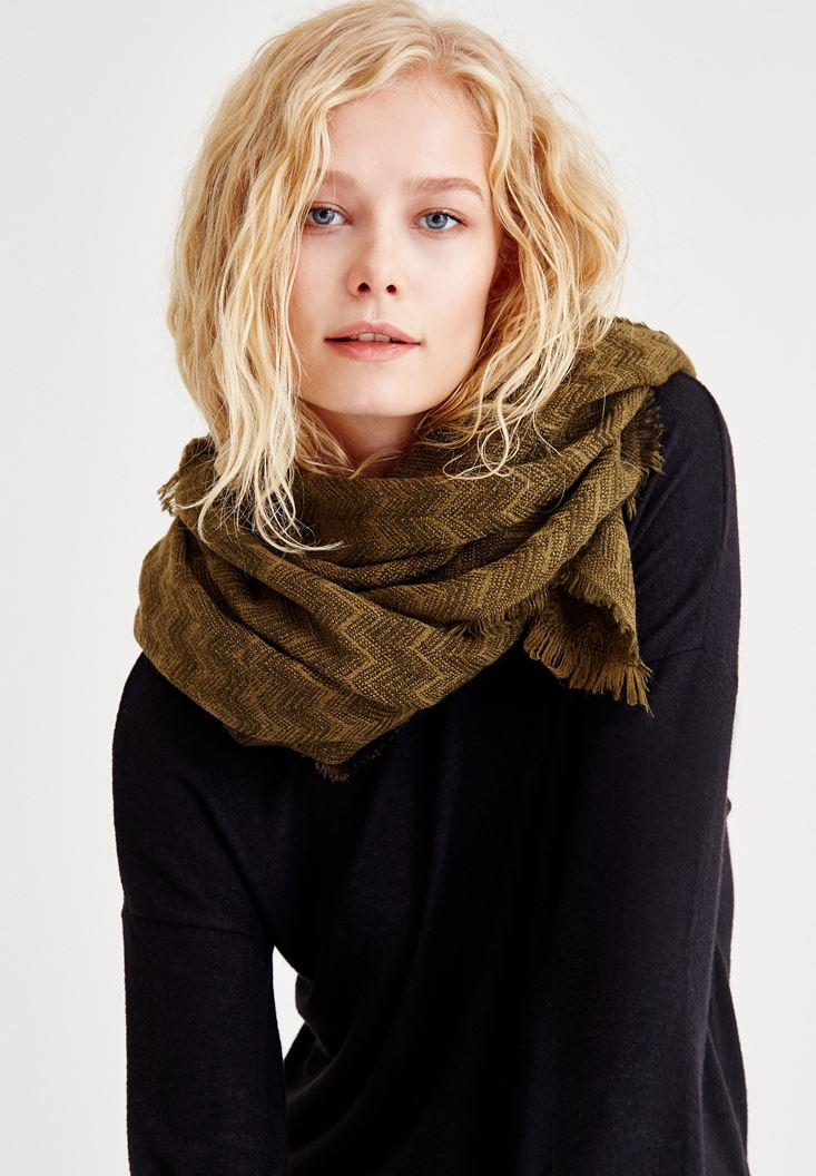 Mixed Zigzag Detailed Scarf