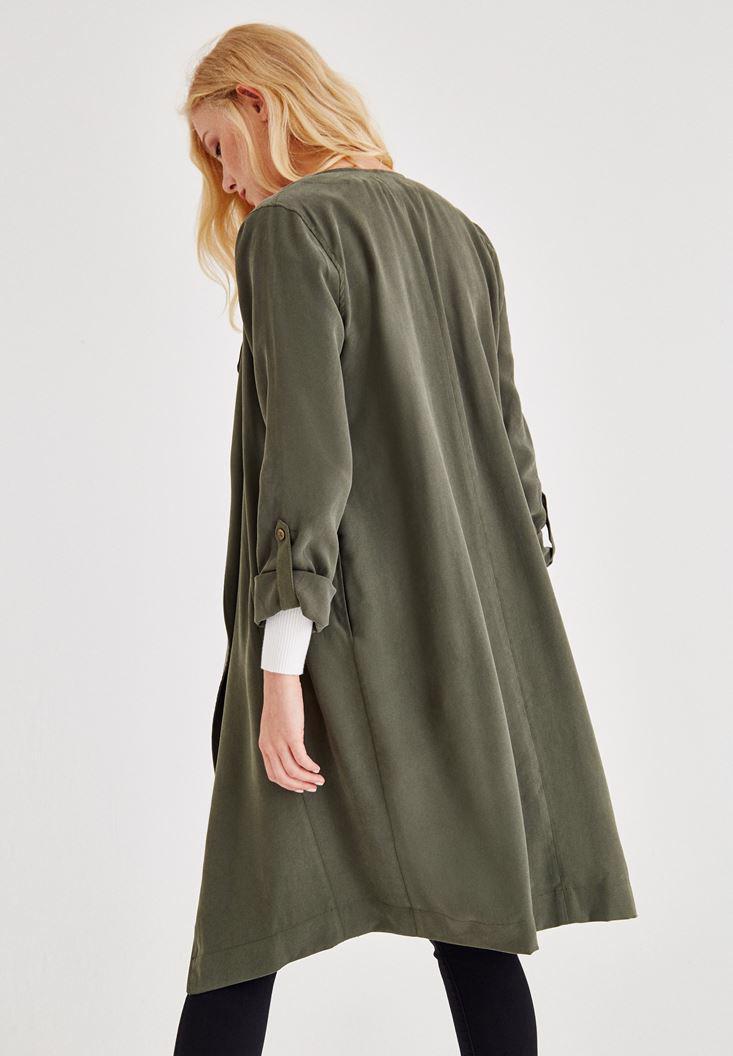 Bayan Yeşil Kol Detaylı Ceket