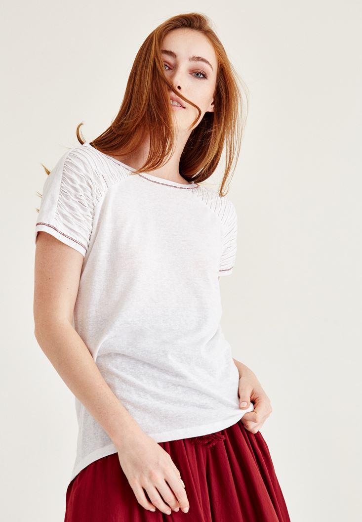 Bayan Krem Omuz Detaylı Yarım Kollu Tişört