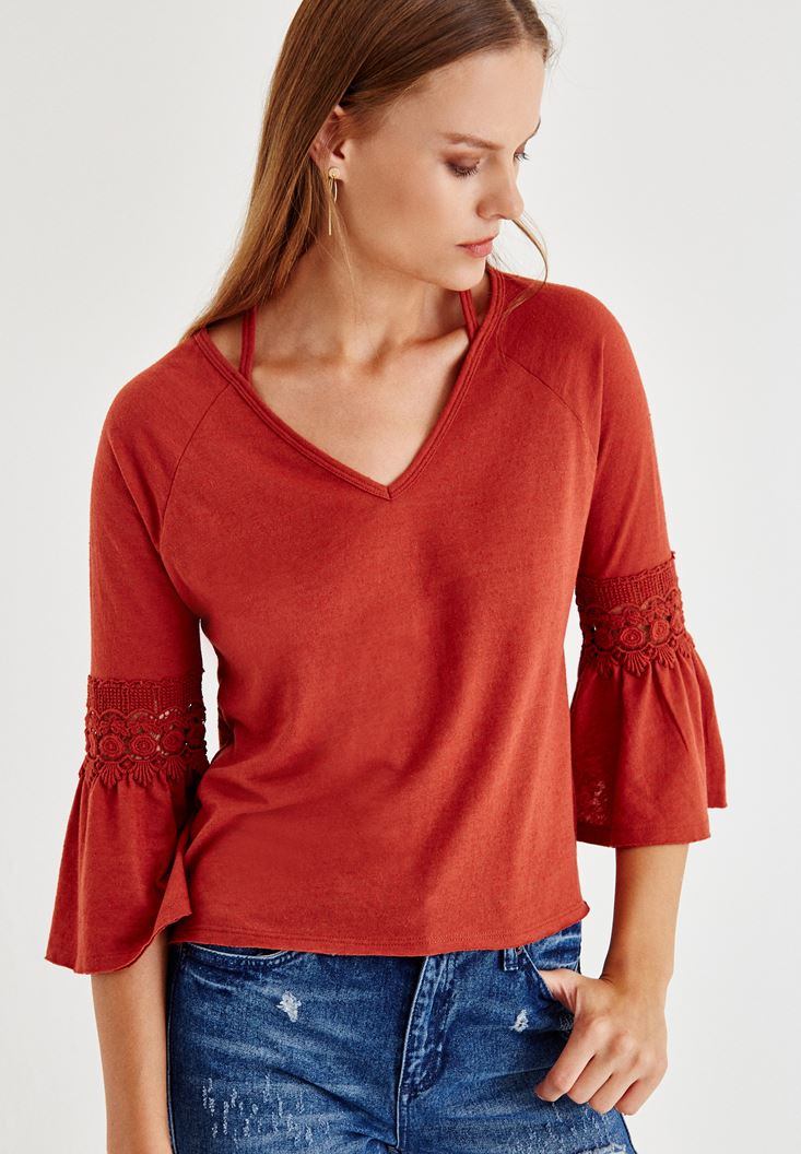 Bayan Kahverengi Yaka Detaylı Uzun Kollu Bluz