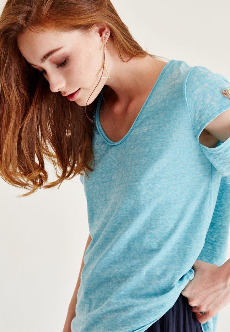 Bayan Mavi Kolu Bağlama Detaylı Tişört