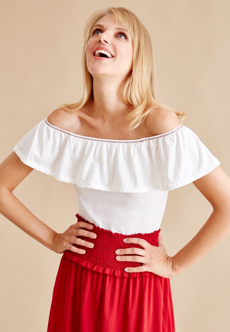 Cream Strapless Off The Shoulder Blouse