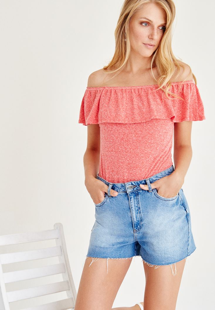 Red Strapless Off The Shoulder Blouse