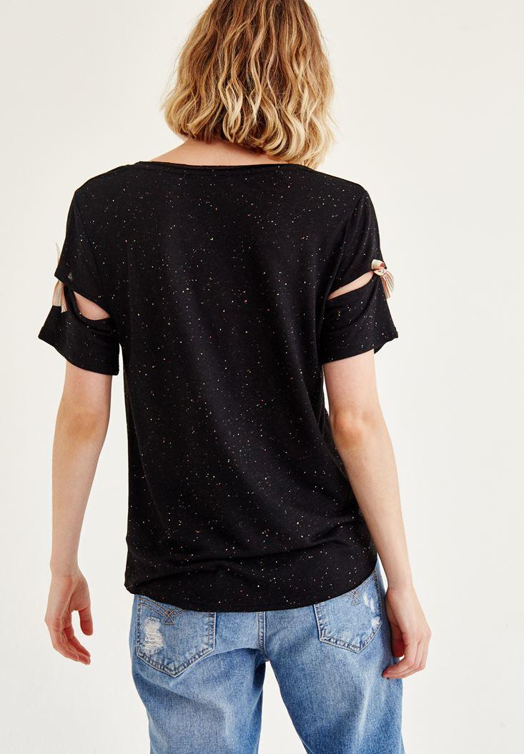 Bayan Siyah Kol Detaylı U Yaka Tişört