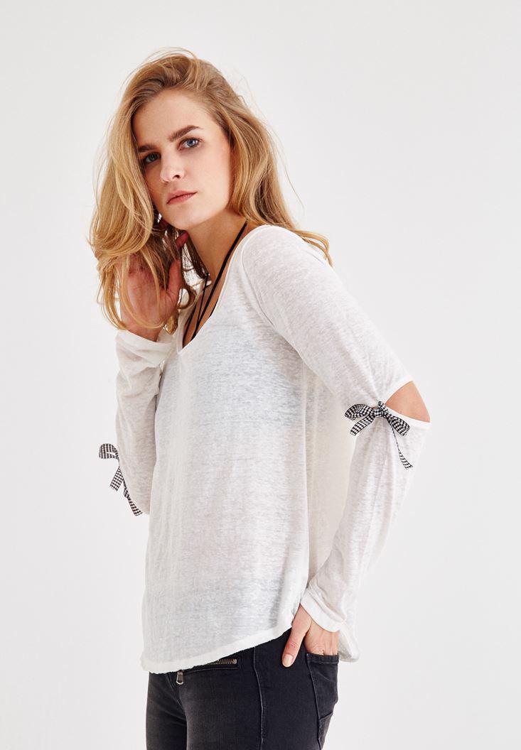 Bayan Krem Uzun Kollu Detaylı Tişört
