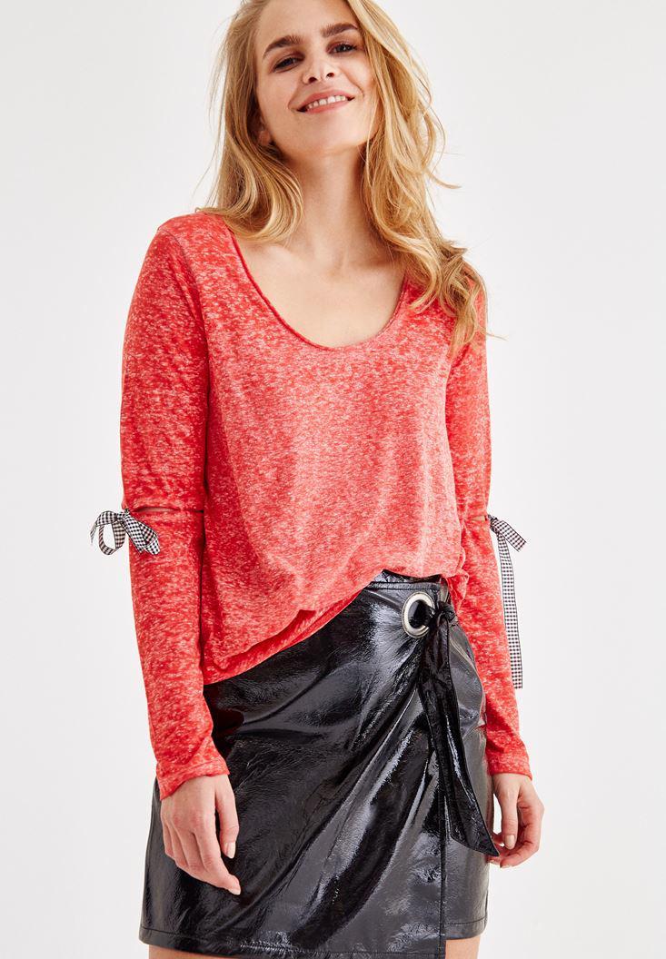 Bayan Kırmızı Uzun Kollu Detaylı Tişört