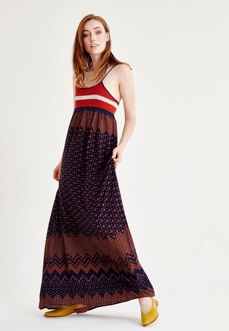 Bayan Çok Renkli Desenli Örgü Elbise