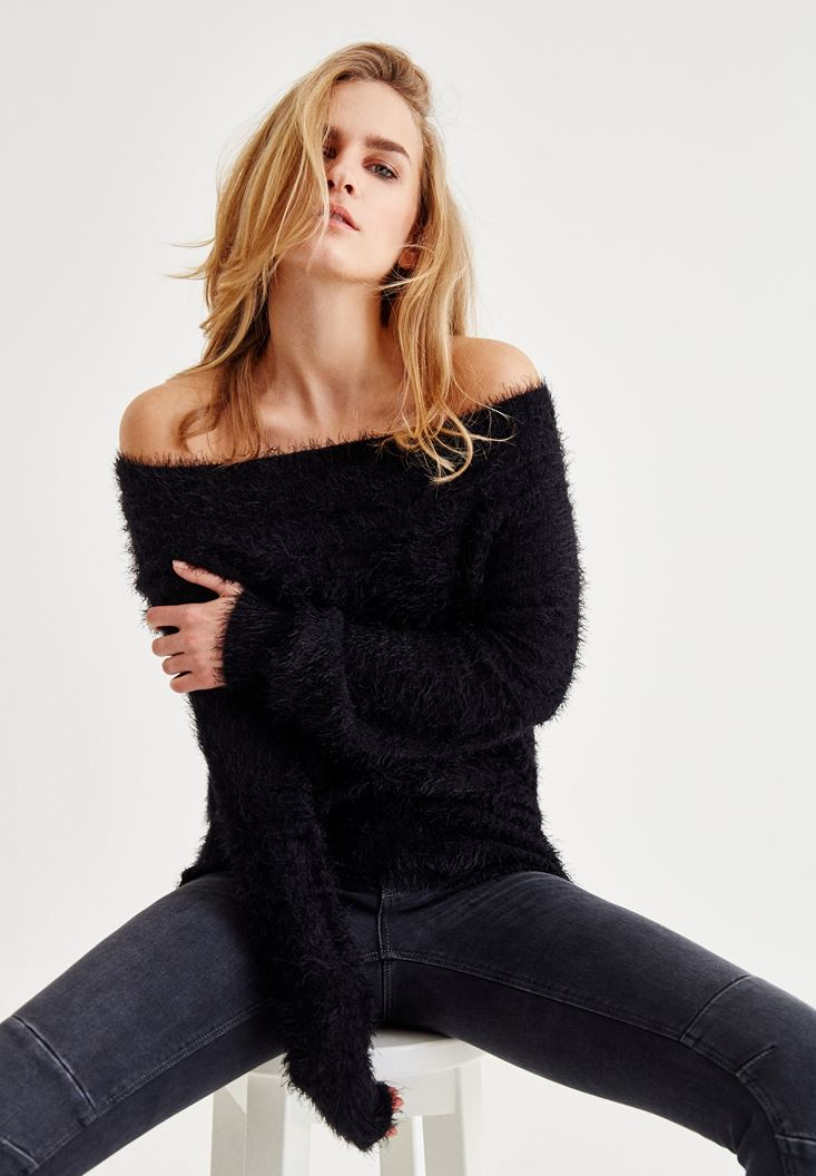 Black Off Shoulder Knitwear With Hair Detailed