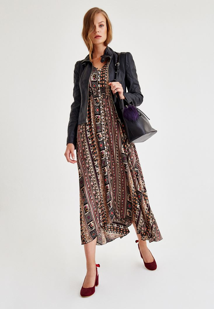 Siyah Uzun Desenli Elbise
