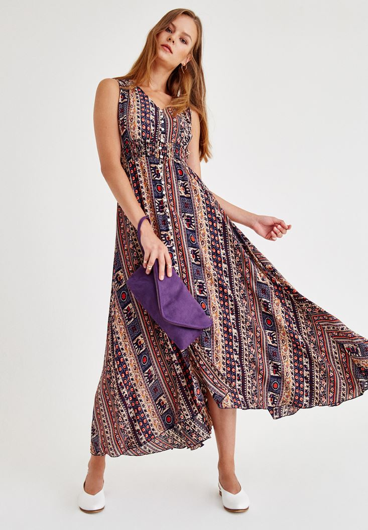 Lacivert Uzun Desenli Elbise