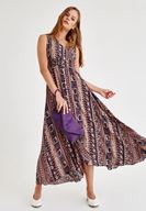 Bayan Lacivert Uzun Desenli Elbise