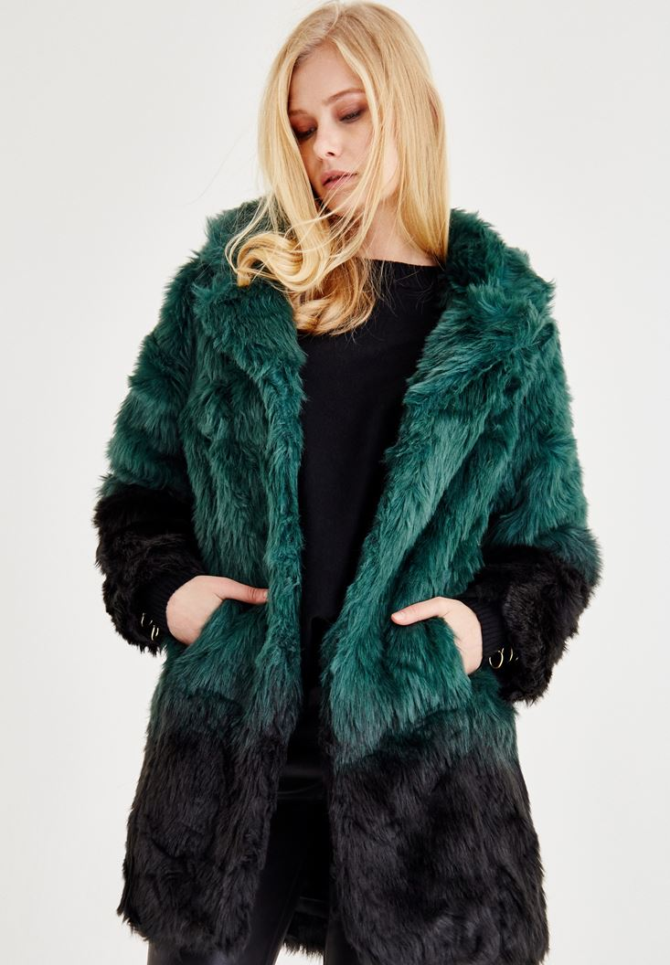 Blue Fake Fur Jacket