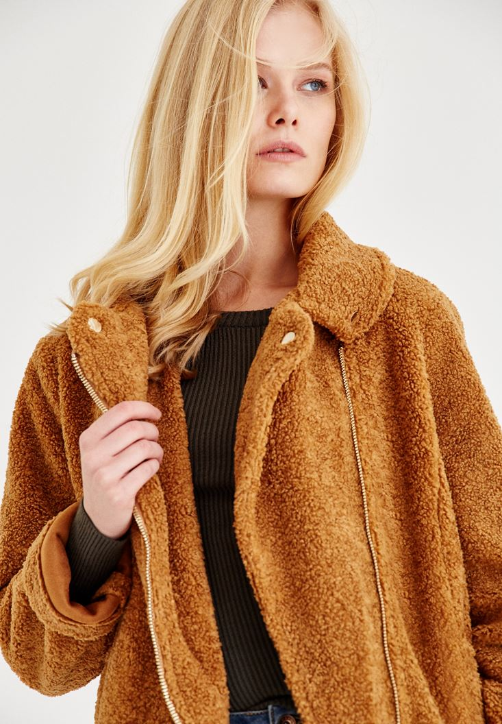Brown Furry Jacket With Belt Detail