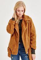 Bayan Kahverengi Kemer Detaylı Tüylü Ceket