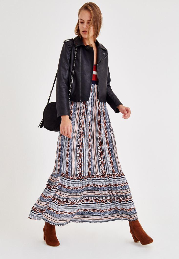 Lacivert İnce Askılı Desenli Uzun Elbise