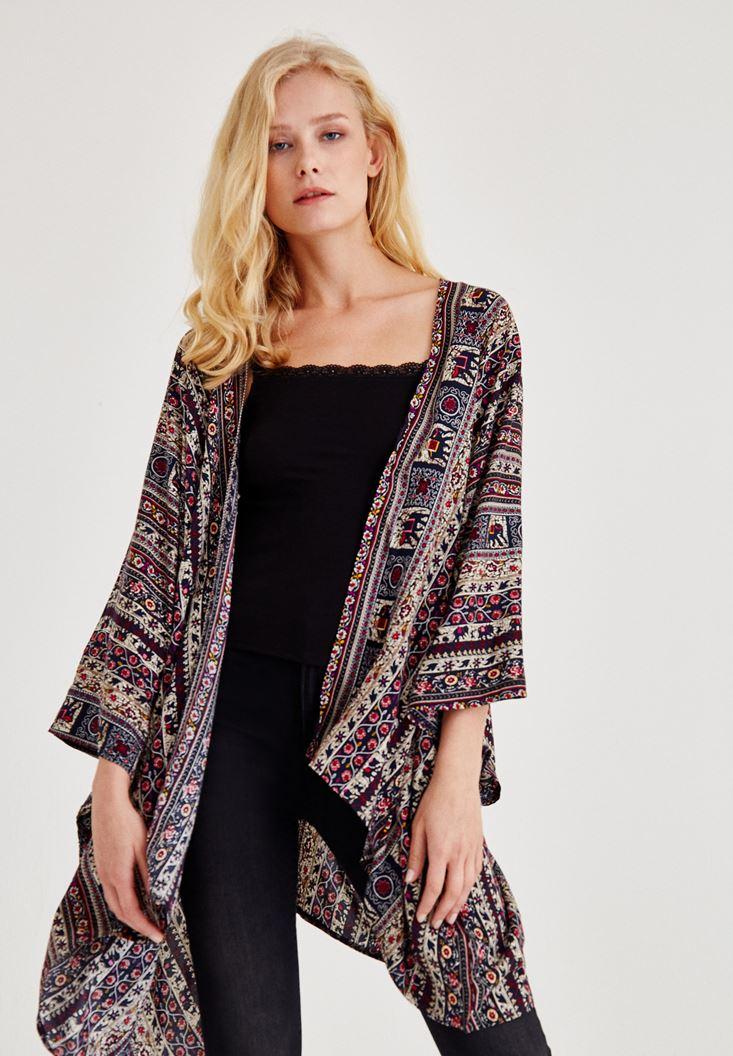 Lacivert Desenli Uzun Kimono