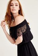 Bayan Siyah Düşük Omuz Dantel Elbise