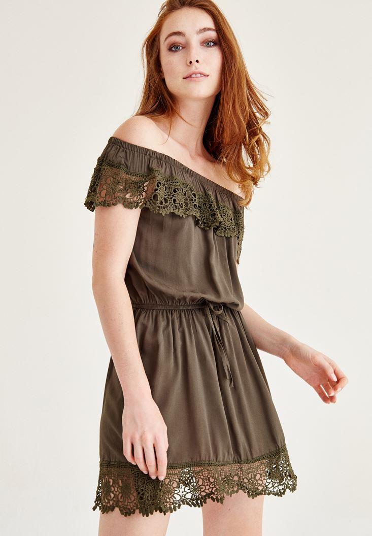 Yeşil Düşük Omuz Dantel Elbise