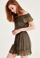 Bayan Yeşil Düşük Omuz Dantel Elbise
