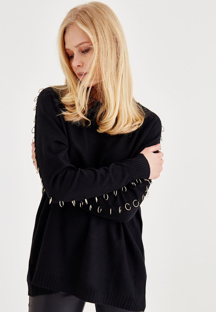 Black Pullover With Ring Details