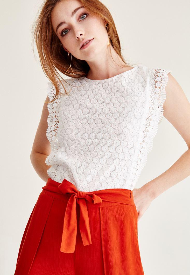 Bayan Beyaz Kolsuz Dantel Bluz