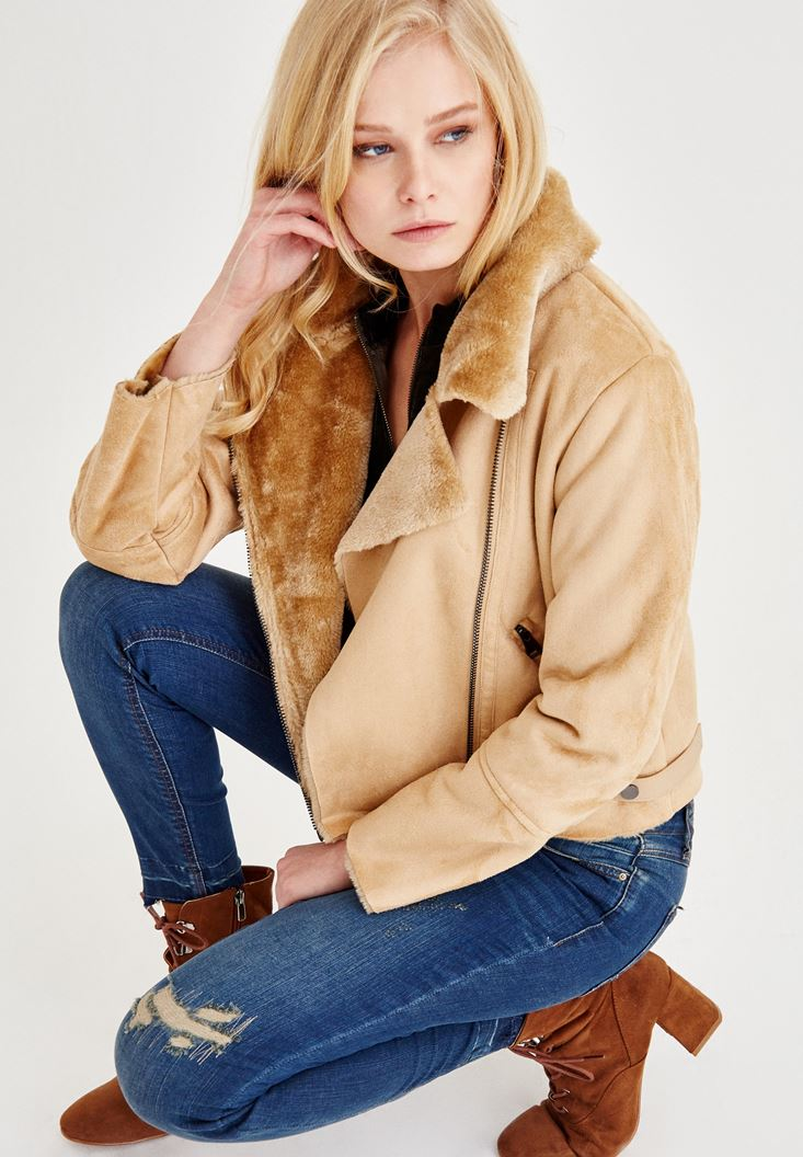 Brown Suede Furry Jacket