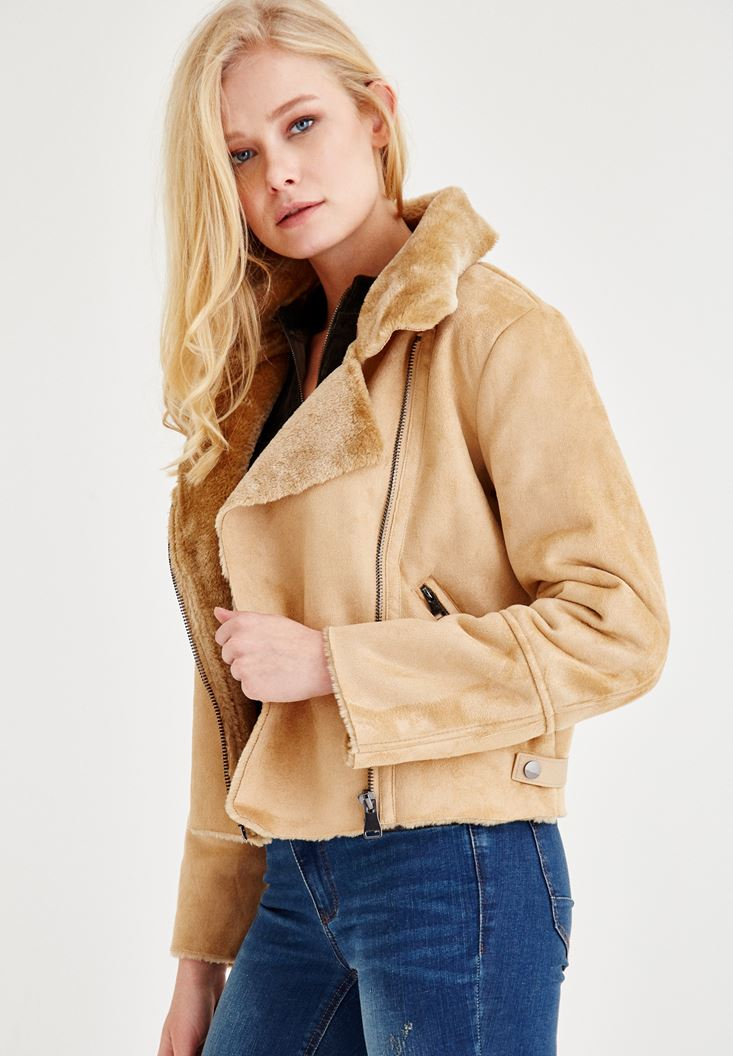 Bayan Kahverengi Kürk Yaka Süet Ceket