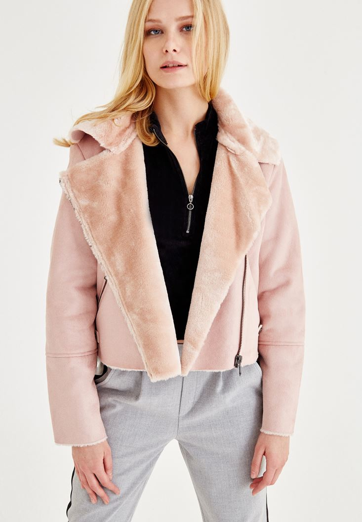 Pink Suede Furry Jacket
