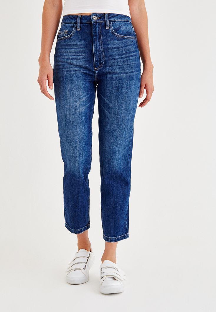 Bayan Mavi Yüksek Bel Mom Fit Denim Pantolon