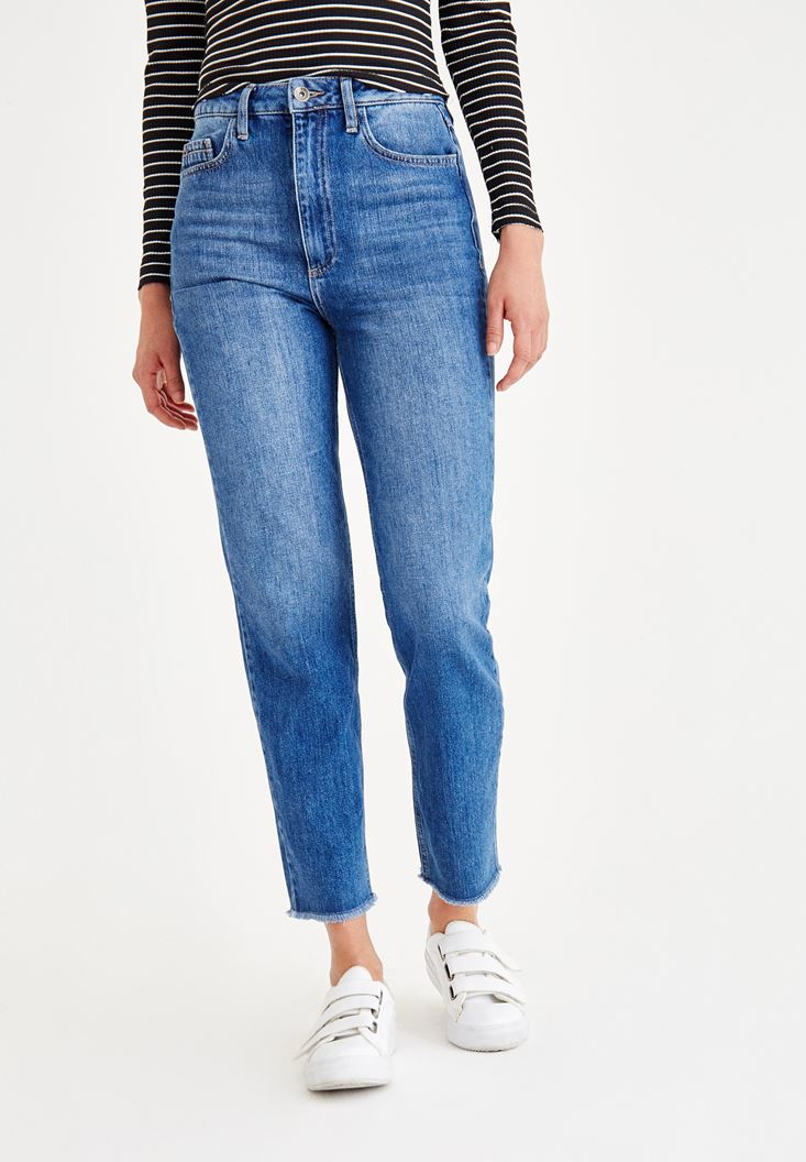 Mavi Yüksek Bel Mom Fit Denim Pantolon