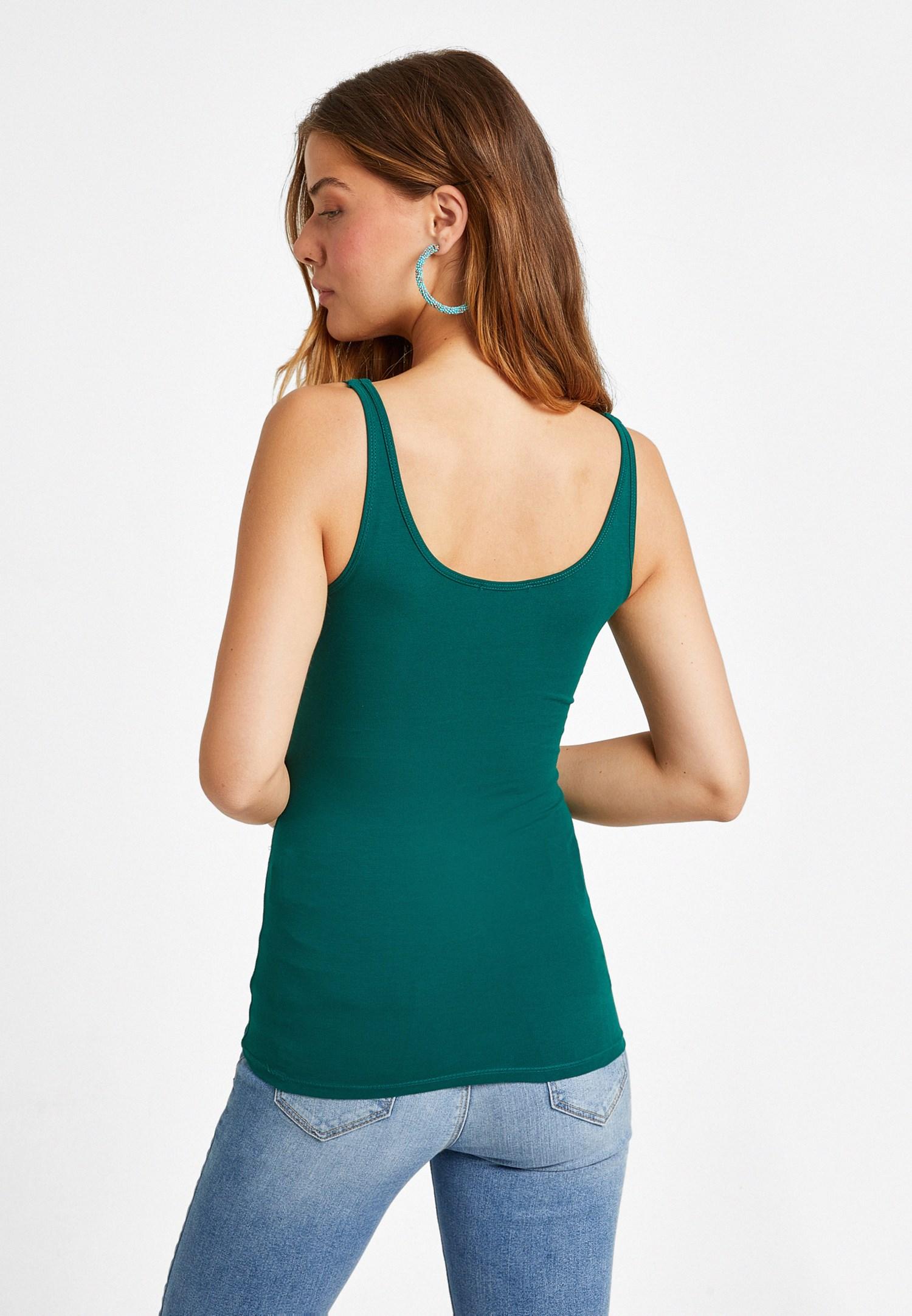 Bayan Yeşil U Yaka Dikişli Atlet