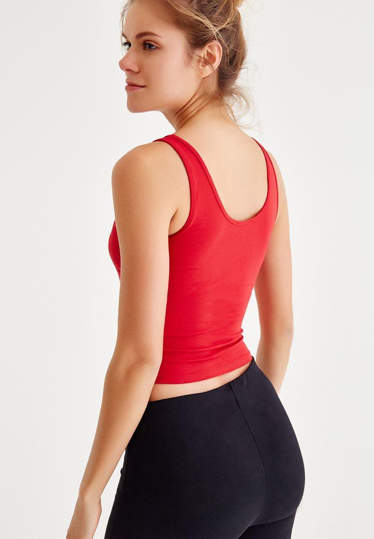 Bayan Kırmızı Kalın Askılı Kısa Basic Atlet