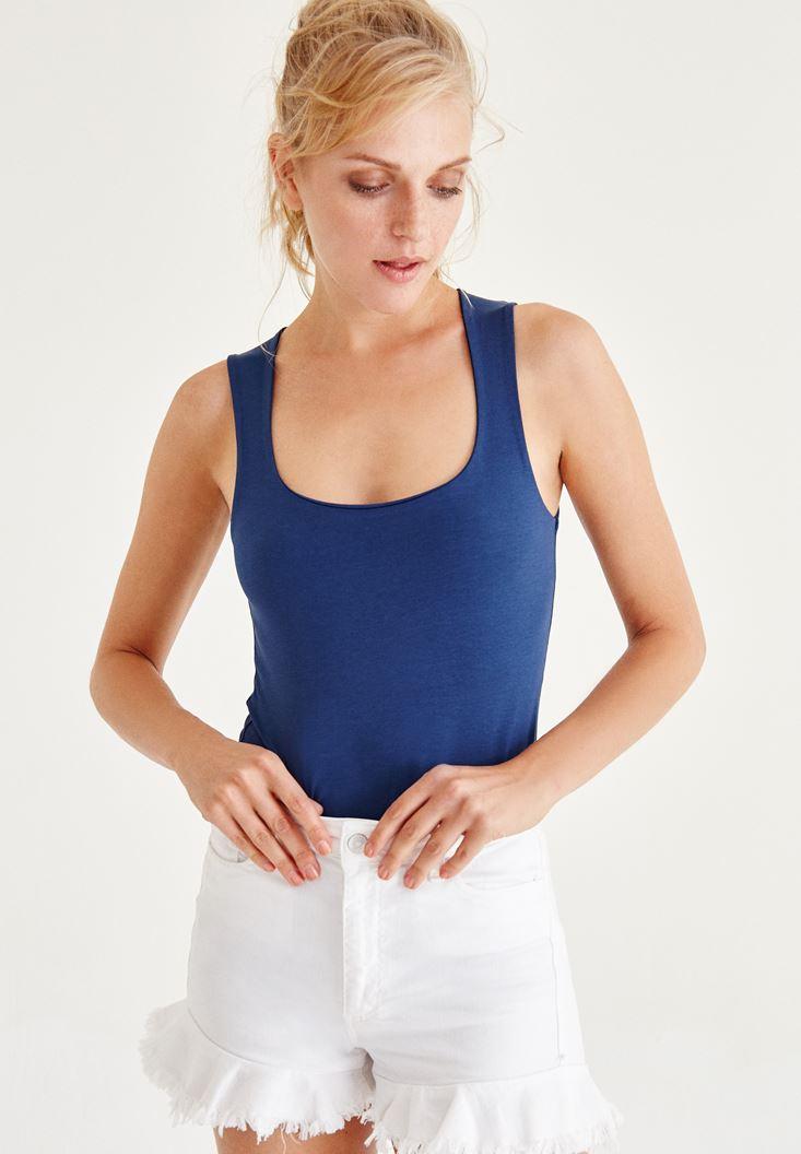 Bayan Mavi Kare Yaka Kalın Askılı Atlet