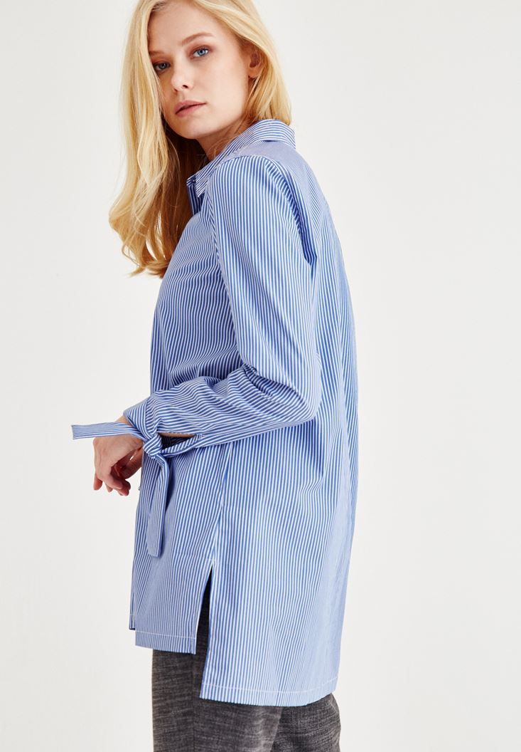 Blue Shirt With Cuff Detail