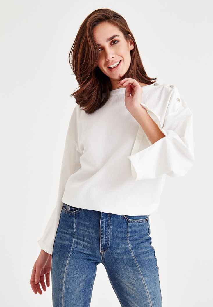 Cream Blouse With Shoulder Detail and Large Arms