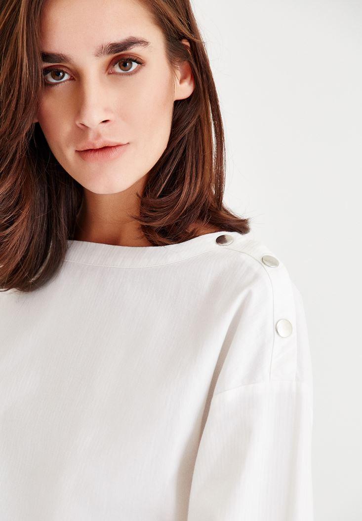 Bayan Krem Omuz Detaylı Geniş Kollu Bluz