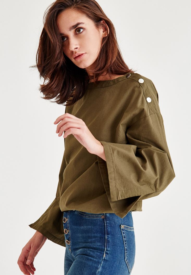 Bayan Yeşil Omuz Detaylı Geniş Kollu Bluz