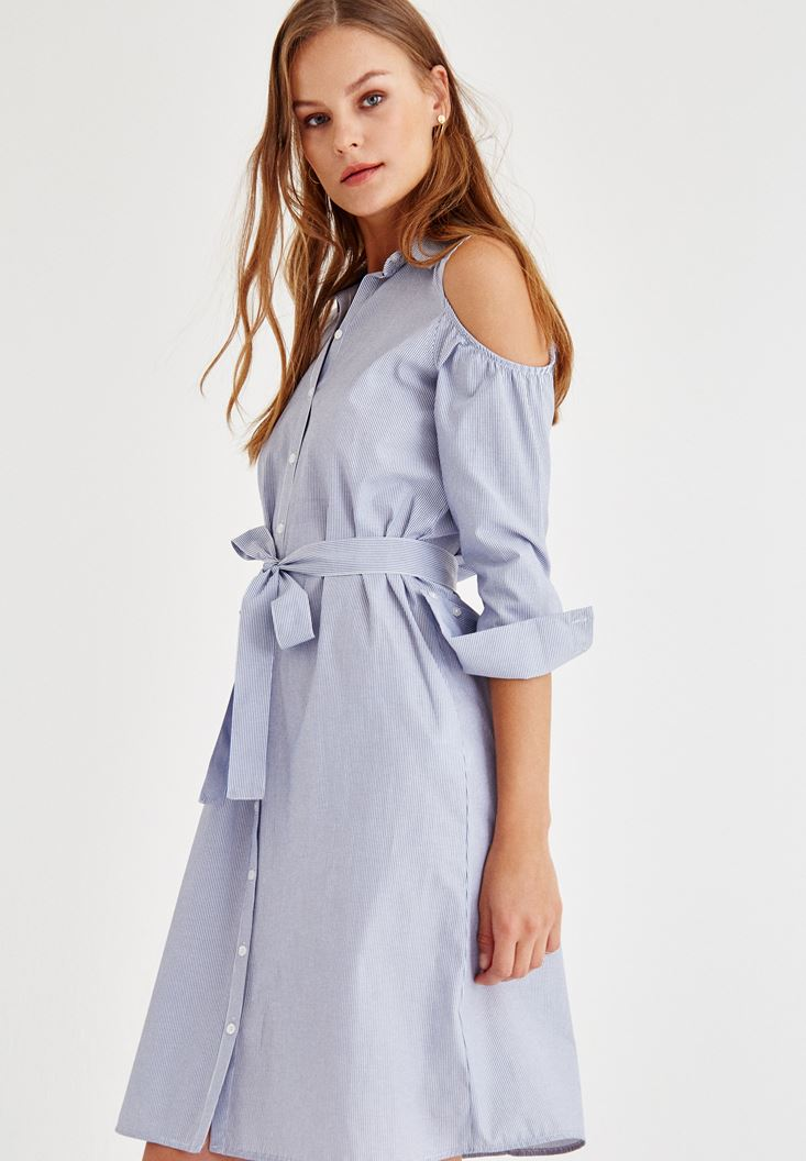 Lacivert Kol Detaylı Çizgili Elbise
