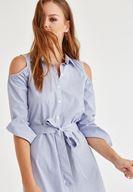 Bayan Lacivert Kol Detaylı Çizgili Elbise