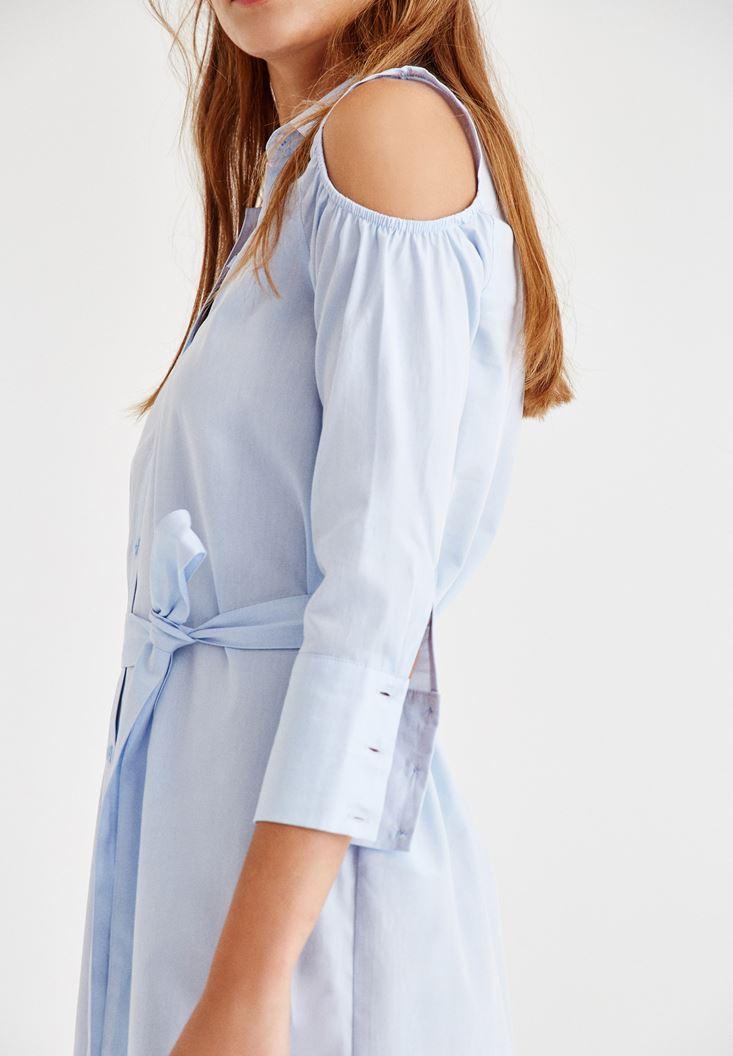 Bayan Mavi Kol Detaylı Düğmeli Elbise
