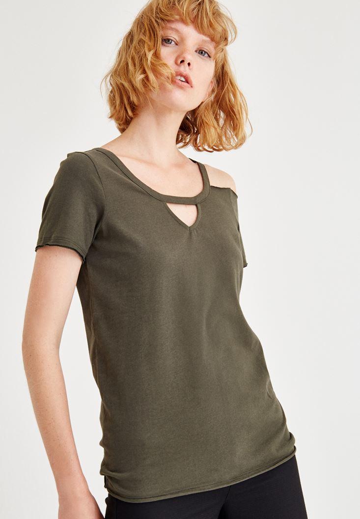 Yeşil Yarım Kollu Tek Omuz Detaylı Tişört