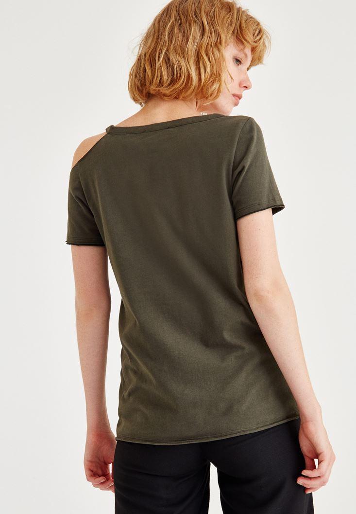 Bayan Yeşil Yarım Kollu Tek Omuz Detaylı Tişört