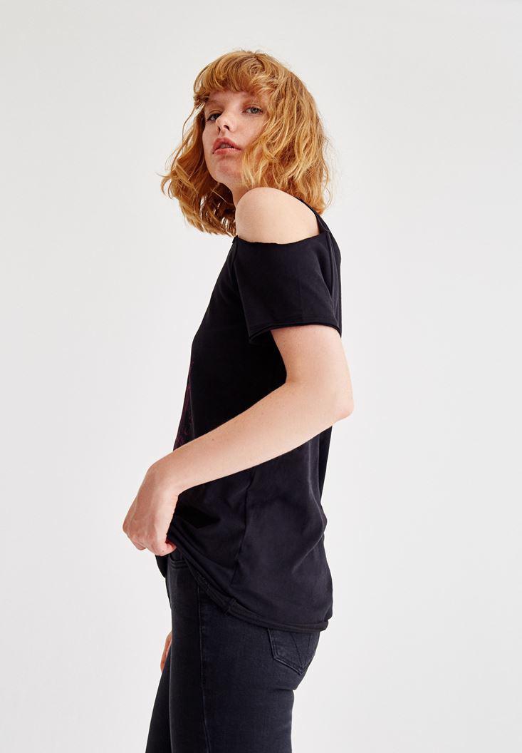Bayan Siyah Baskılı Omuz Detaylı Bluz