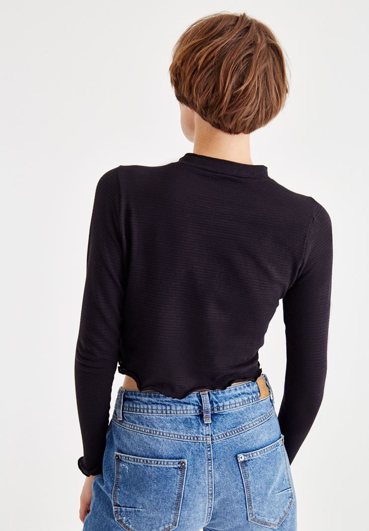 Bayan Siyah Uzun Kollu Kısa Bluz