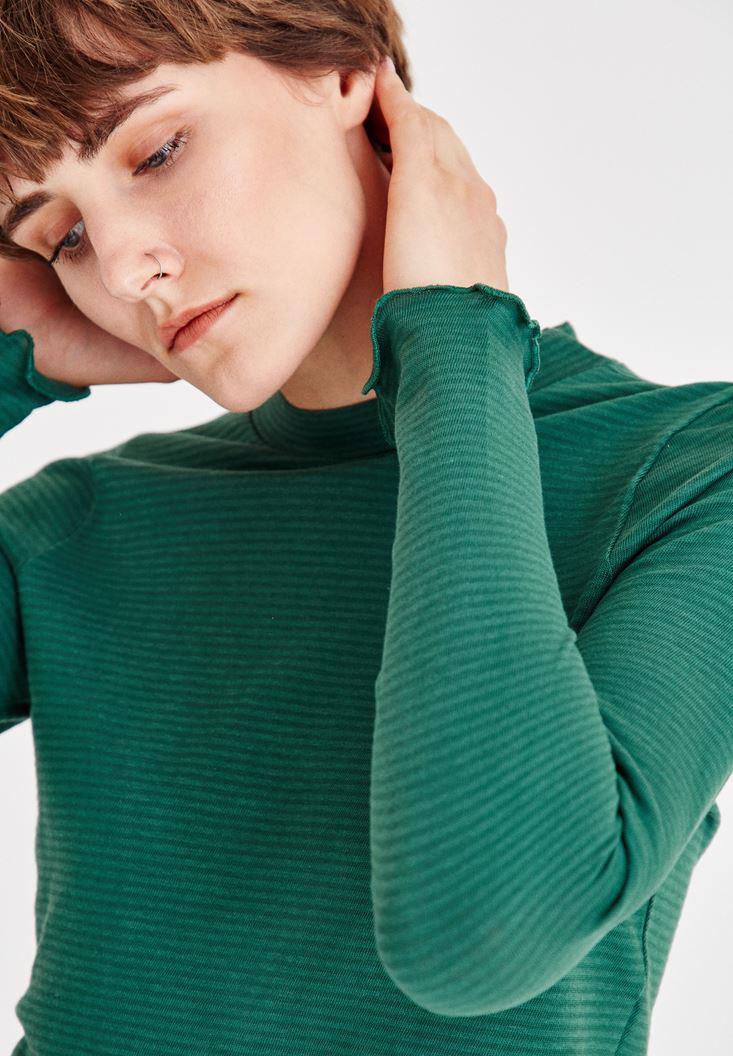 Bayan Yeşil Uzun Kollu Kısa Bluz