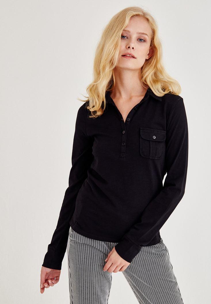 Siyah Cep Detaylı Uzun Kollu Gömlek