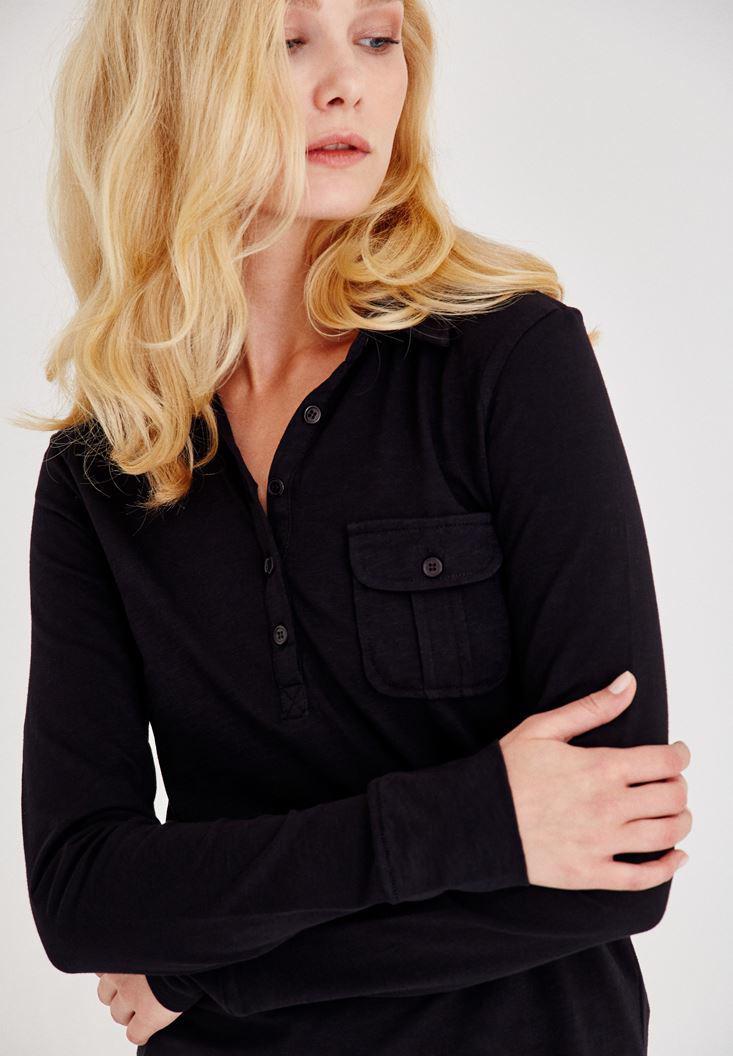 Bayan Siyah Cep Detaylı Uzun Kollu Gömlek