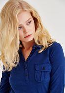Bayan Mavi Cep Detaylı Uzun Kollu Gömlek