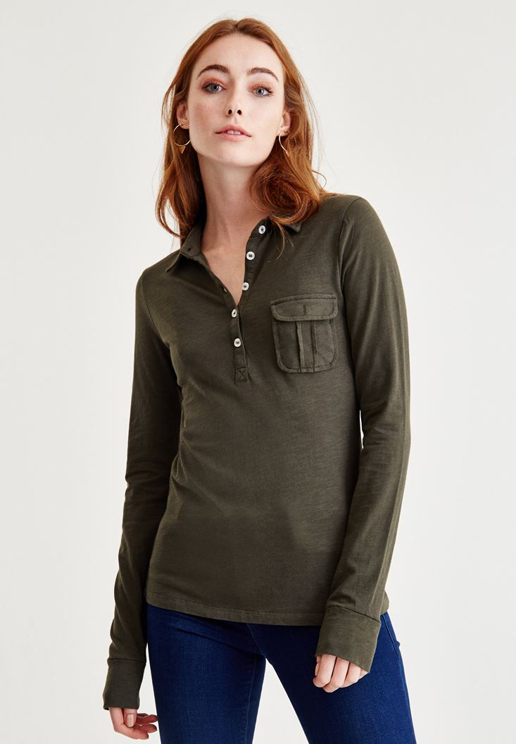 Green Long Sleeve Shirt With Pocket Detailed